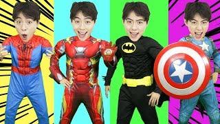 Wrong Superheroes Puzzle 마슈!!! 슈퍼히어로 아이언맨 베트맨 변신 가면 맞추기 놀이 캡틴 아메리카 - 마슈토이 Mashu ToysReview