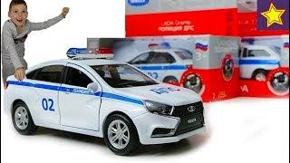 Полицейская машинка Лада Веста ДПС против коробок Cars Toys Video