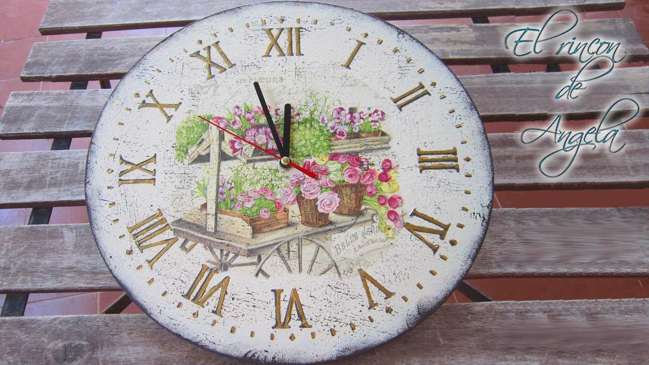 Con Craquelado Sello Madera Creavea Decoupage Estilo Y Reloj Vintage De 6gvfI7yYb