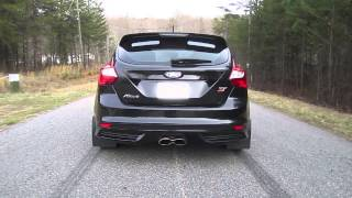 2013 Focus ST Downpipe and Resonator Delete Rev and Drive-By Exhaust Video