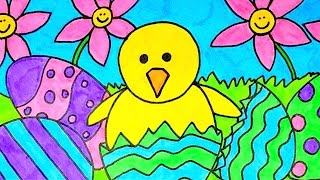 How To Draw Easter Scene ~ Easter Videos For Kids