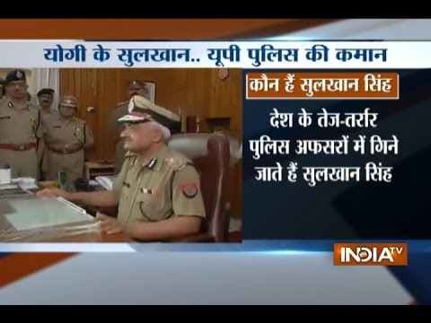 Sulkhan Singh addresses the media after taking charge as the new DGP of Uttar Pradesh