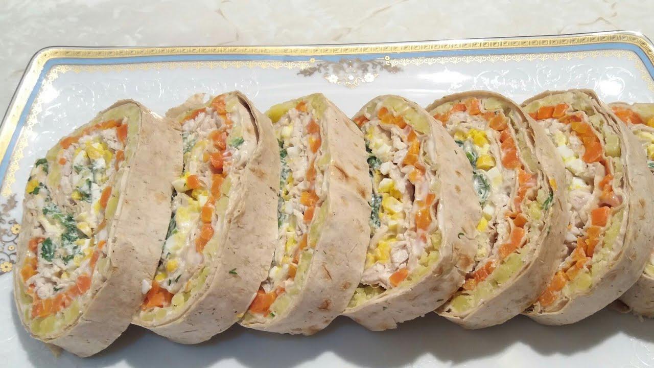 Yuxa salatı/Doyumlu Hazir Lavasdan  Salat nece hazirlanir /Hazir Yufka Salatasi yapimi