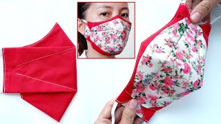 DIY 2 Tones Stylish 3D Face Mask Face Mask Sewing Tutorial