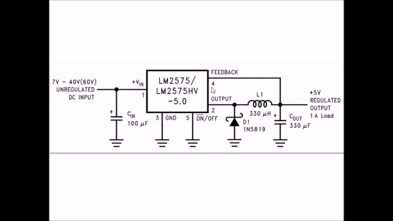 Using Lm2575t Simple Switching Voltage Regulator Youtube Regulated Power Supply Circuit Wiring Diagrams