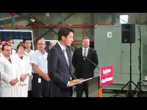 Justin Trudeau at Canadian Solar Factory