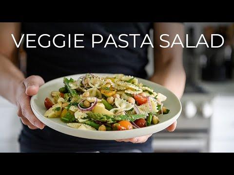 I CAN'T BELIEVE HOW TASTY THIS QUICK VEGGIE PASTA SALAD RECIPE IS   VEGAN DINNER MEAL IDEA!