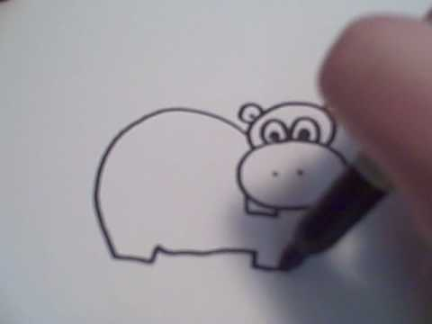 How To Draw A Cartoon Hippo Youtube