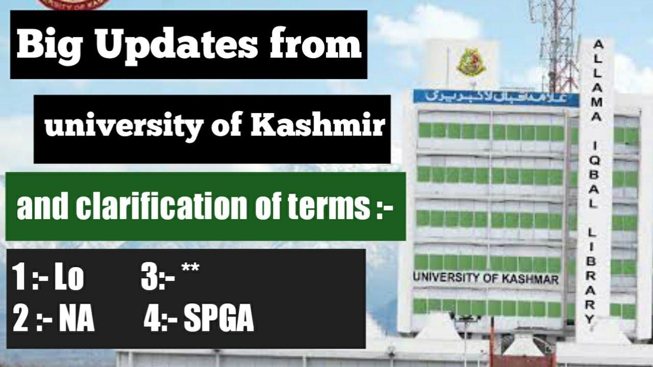 Big Updates From University Of Kashmir    NA    **    LO    SGPA    Kashmir university
