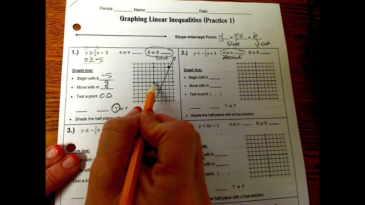 Graphing Linear Inequalities-Practice 1 - YouTube