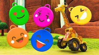 Учим цвета вместе с жирафом подъёмным краном Обучающие мультики для детей с машинами и зверями
