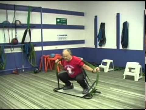 dick hartzell on platform exercises squats withbands