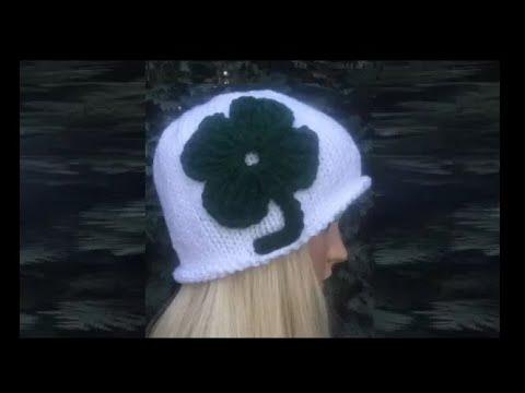 How To Knit St Patricks Day Hat Four Leaf Clover Shamrock Hat