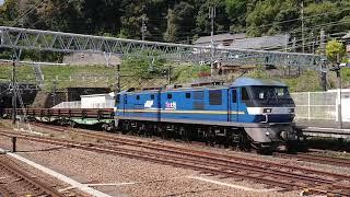 JR金谷駅 EF210-300番台牽引 日鐵チキ5400形 レール輸送の貨物列車 通過シーン