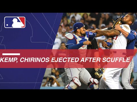Kemp runs over Chirinos at home plate as benches clear