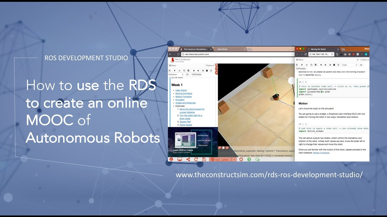 [ROS Q&A] How to use the ROS Development Studio to create an online MOOC of  Autonomous Robots by The Construct