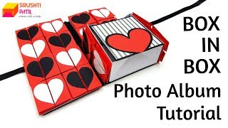 Box in Box Photo Album Tutorial by Srushti Patil | Valentines Day Card | Love Greeting Card Ideas |