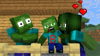 Monster School: Family Zombie Life - Sad Story But Happy Ending - Minecraft Animation