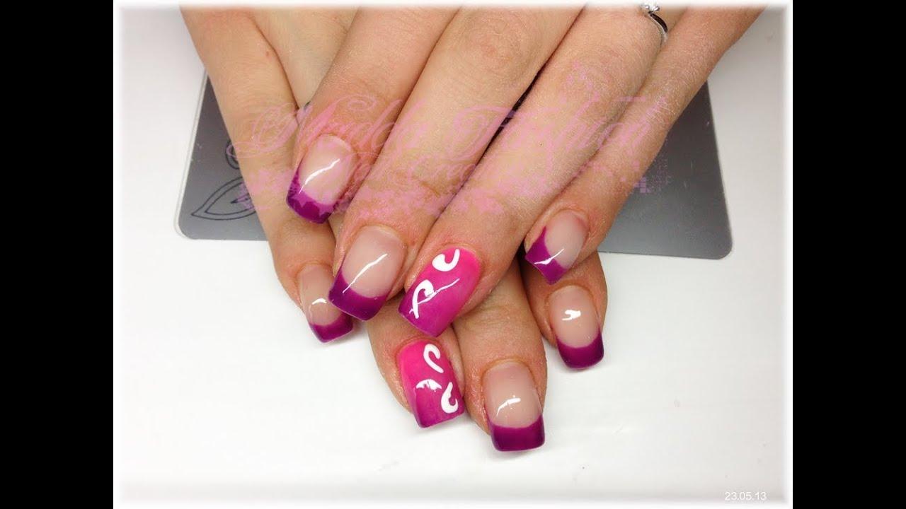 Nail art - french viola e monocolore sfumato con decori in ...