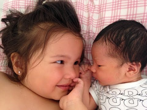 Daniella meets her baby brother