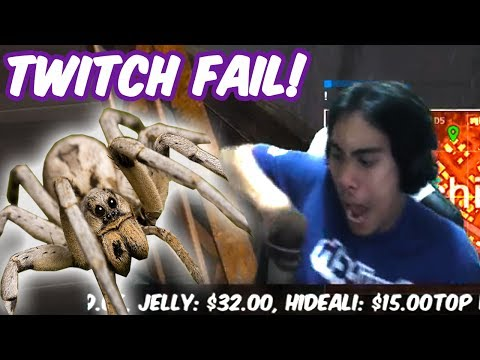 Twitch Fail - Attacked by a BIG SPIDER during stream - PUBG Funny moments