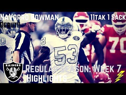 NaVorro Bowman Week 7 Regular Season Highlights Raiders Debut   10/19/2017