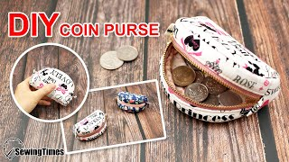 DIY CUTE COIN PURSE | Sewing Gift Ideas | Round zipper pouch sewing Pattern & Tutorial [sewingtimes]