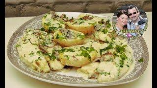 Рыба и сливки с грибами - Нежный соус  Ужин за 30 минут.  Вкусно и быстро