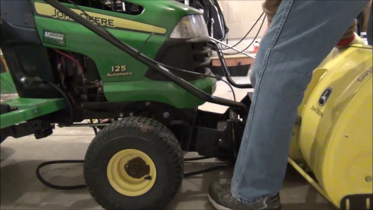 How to Attach a Snowblower to a John Deere 100 Series 125 Automatic  YouTube