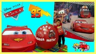 100 cars toys giant egg surprise opening disney pixar lightning mcqueen kids video kv show