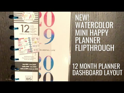 NEW Mini Happy Planner | Hobby Lobby Watercolor Mini | Dashboard Layout 2019-2020