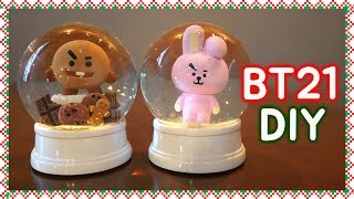 BT21 스노우볼 만들기! (대박 귀여움..) DIY BT21 Snow Globes are soo cute! BT21 DIY