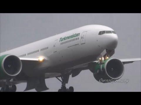 Turkmenistan 777-200LR Missed Approach & Landing in Sleet & Rain @ KPAE