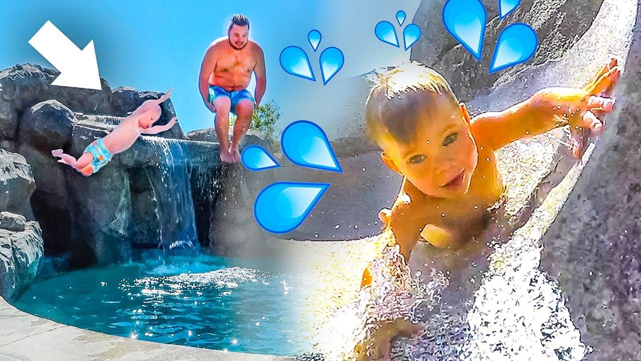insane backyard water park toddler braves super fast water