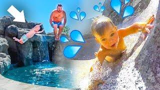BACKYARD WATER PARK! 💦 Toddler rides super fast water slide! 😮
