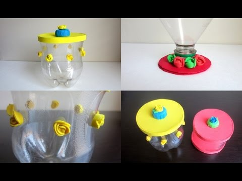 Diy storage jars lids recycling plastic bottles youtube for Recycled plastic containers