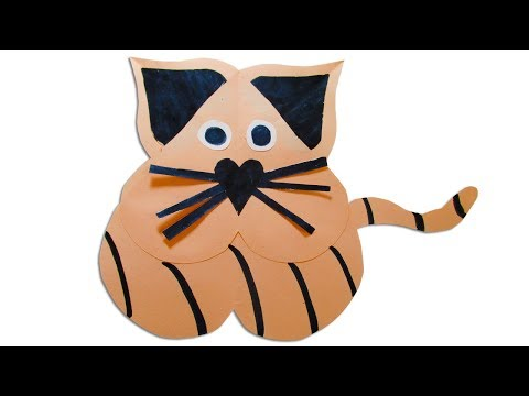 How to make a paper cat - DIY paper heart crafts