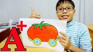 Hunter Kids Go To School Learn Colors Tomato Car | Classroom Funny Nursery Rhymes