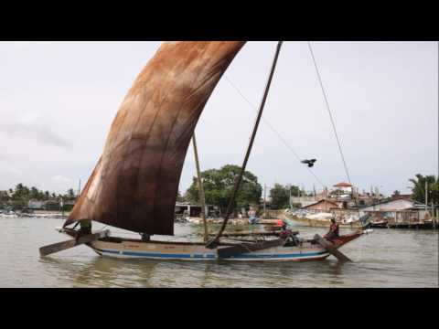 Traditional fisherman's sailing in Sri Lanka