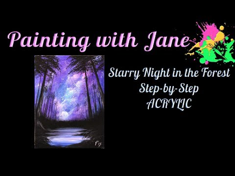 Starry Night in the Forest Step by Step Acrylic Painting on Canvas for Beginners