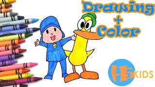 How To Draw Pocoyo & Pato With Color Easy - Kids Drawing Tutorial (Art & Drawing For Kids)