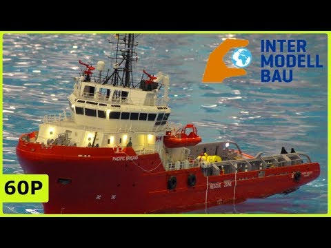 STUNNING RC MODEL SCALE OFFSHORE SHIP IN ACTION - INTERMODELLBAU DORTMUND 2019