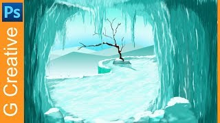 Photoshop work - ice cave wallpaper speed video