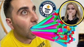 DÜNYA REKORLARINI KIRMAYI DENEDİK !! Evde Kırabileceğiniz Guinness Rekorları