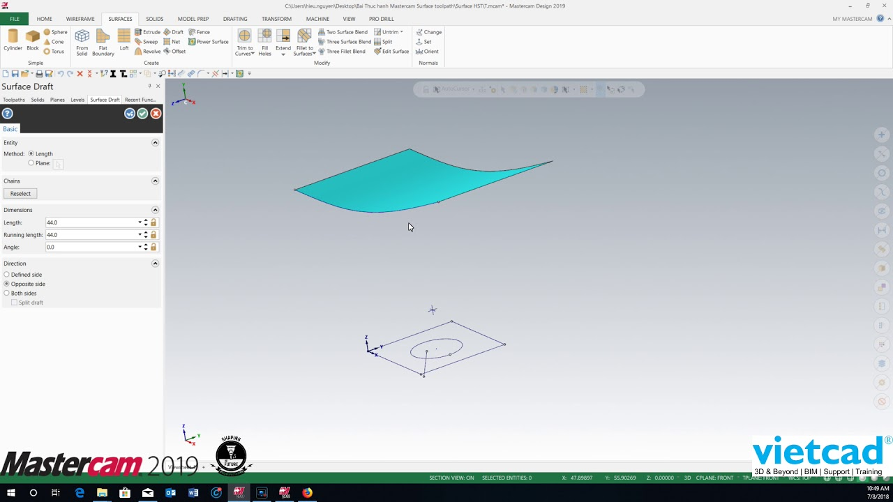 Mastercam 2019 Extrude Surface
