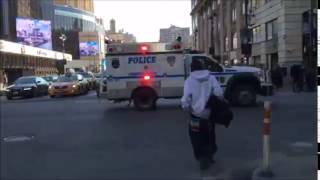 NYPD ESU TRUCK RESPONDING ON WEST 34TH STREET IN MIDTOWN AREA OF MANHATTAN IN NEW YORK CITY.