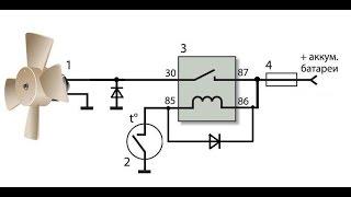 Схема включения электро вентилятора охлаждения радиатора автомобиля