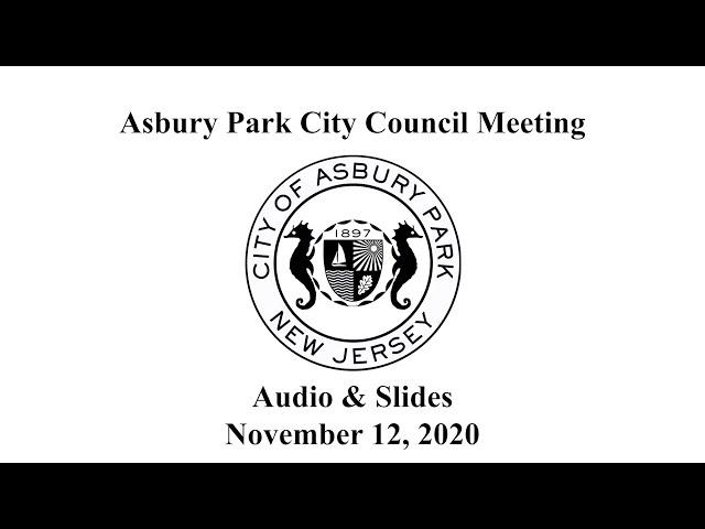 Asbury Park City Council Meeting - November 12, 2020