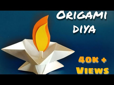 Origami diya | DIY paper candle | star lamp / diya | paper diya | diwali decoration ideas@ArtistInU