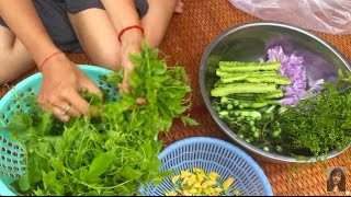 Making Cambodian Traditional Food At Home, Toek Kreung With Fresh Vegetbles, Healthy Food